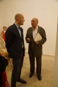 Kulturchef der WELT Cornelius Tittel und Günther Uecker