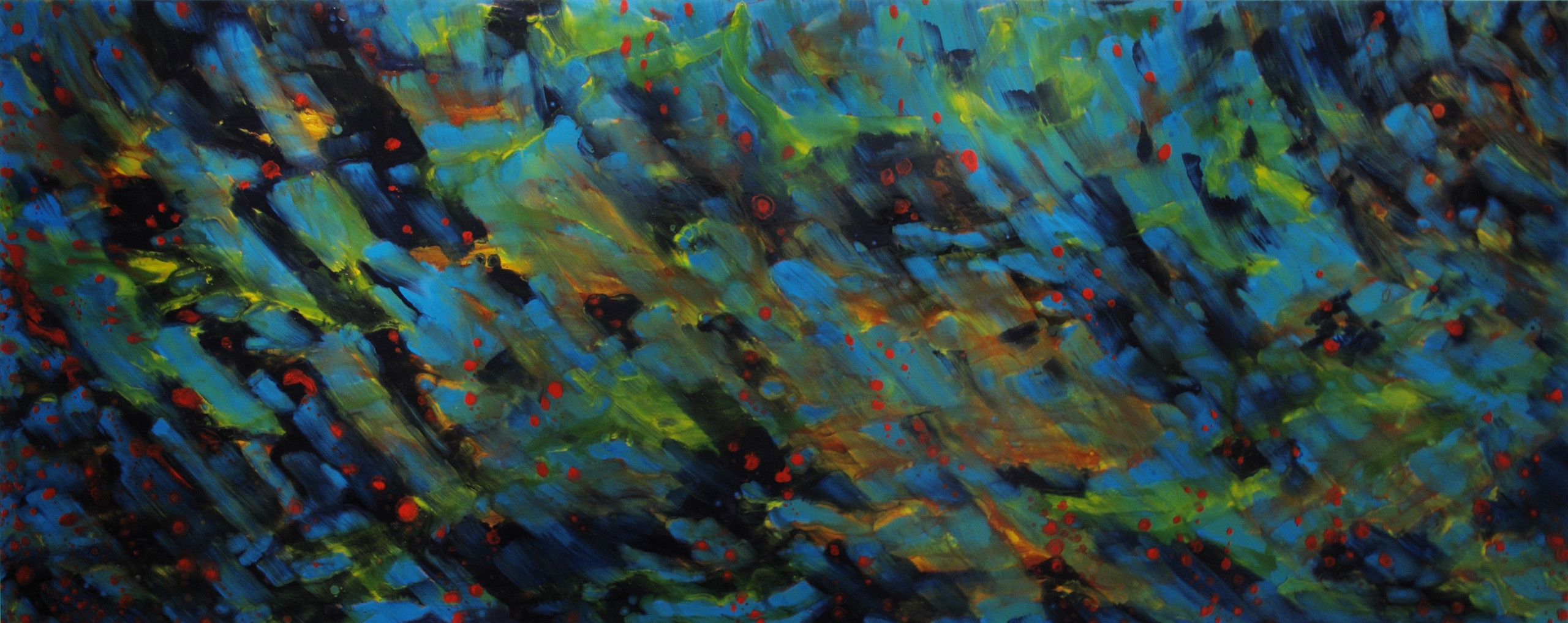Julian Kohl - Ohne Titel (Spazieränge), 160x400cm Öl auf Leinwand 2014