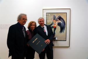 Mel Ramos, Prof. Dr. Beate Reifenscheid und Prof. Dr. Joachim Hoffmann-Göttig, Oberbürgermeister der Stadt Koblenz