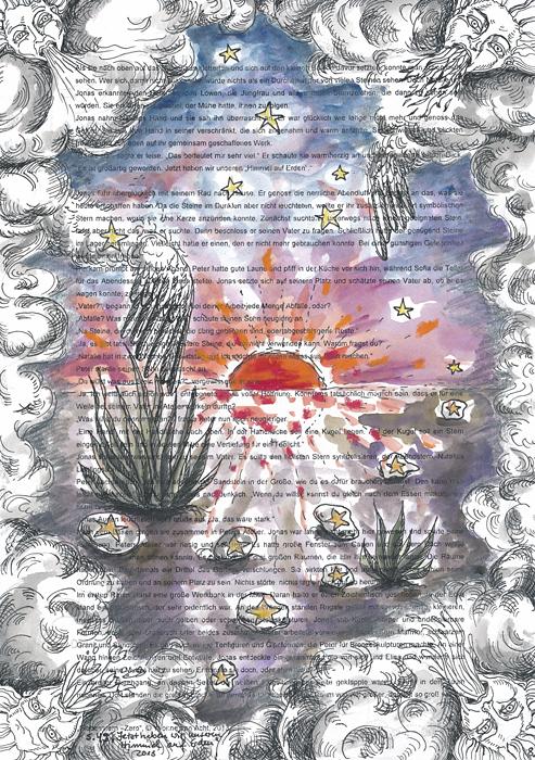 Yvonne van Acht, Himmel auf Erden, bemalte Manuskriptseite, 40 x 28,2 cm