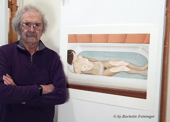 """Mel Ramos mit seiner Lithografie """"Bonnards Bath"""", © by Rochelle Feininger"""