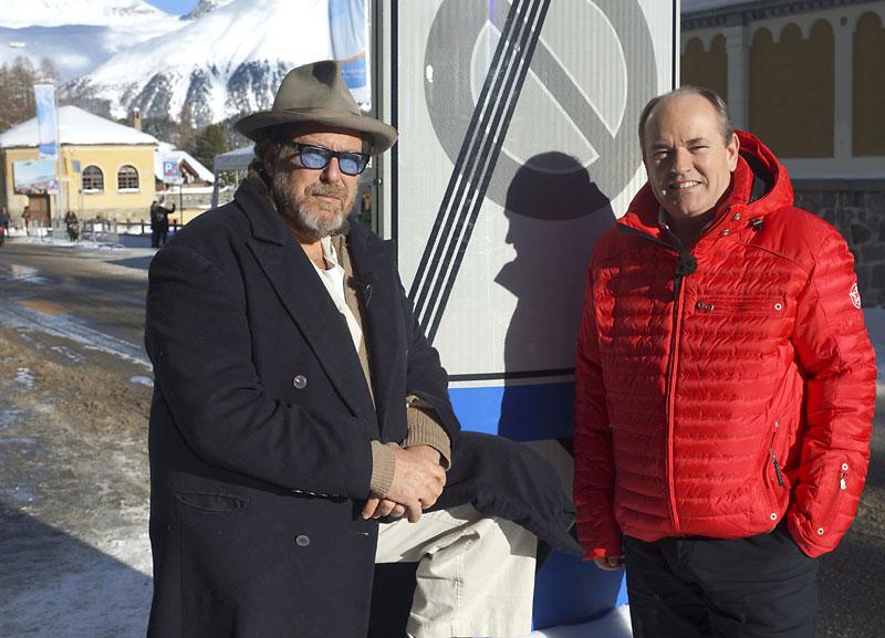 Julian Schnabel und Wolfram Kons beim n-tv Dreh in St. Moritz