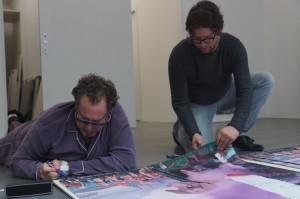 Julian Schnabel und Dirk Geuer bei der Signierung Childhood II