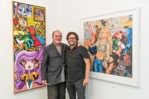 Erró Ausstellungseröffnung in der Galerie Geuer & Geuer Art - Erró mit Galerist Dirk Geuer vor seinen neuen Grafik Are You Ready (rechts) - Copyright Uli Engers