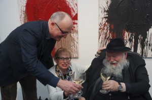 Hermann Nitsch mit Günther Jäger und Reneé Taborsky
